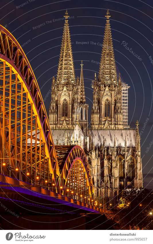 Cologne Cathedral Architecture Church Dome Tourist Attraction Belief Religion and faith Colour photo Exterior shot Evening Twilight Night Deep depth of field