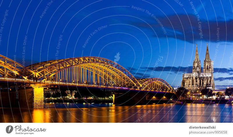 Cologne Cathedral II Church Dome Bridge Hohenzollern Bridge Religion and faith Colour photo Exterior shot Evening Twilight Deep depth of field Panorama (View)