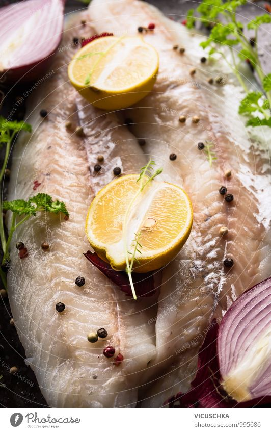 Pike perch fish fillet, preparation with lemon Food Fish Fruit Herbs and spices Cooking oil Nutrition Lunch Dinner Organic produce Vegetarian diet Diet Style