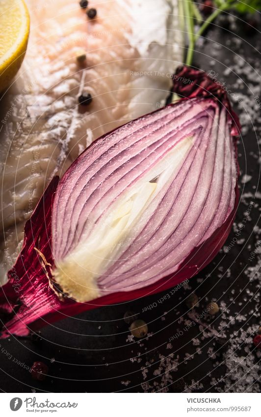 Half red onion with salt with fish lilet Food Fish Vegetable Nutrition Lunch Organic produce Vegetarian diet Diet Style Design Healthy Eating Life Kitchen Onion