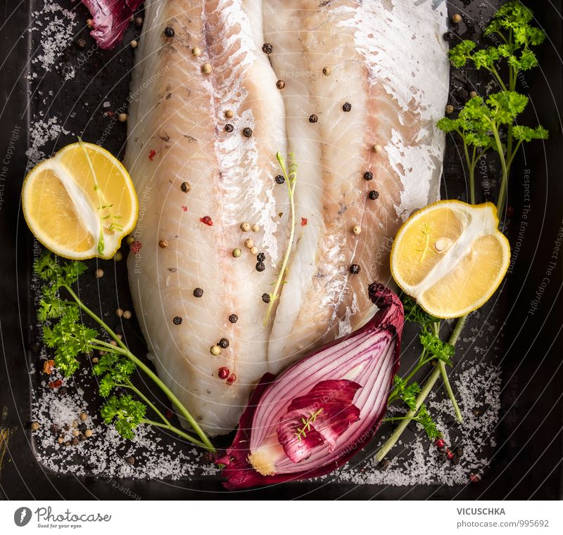 Fish fillet preparation on the baking tray Food Herbs and spices Nutrition Lunch Banquet Organic produce Diet Style Design Healthy Eating Yellow Green Red Black