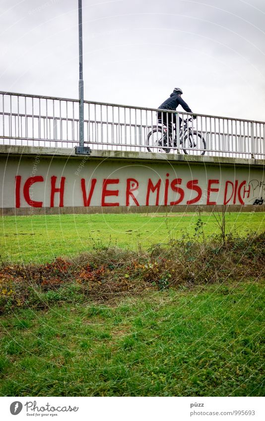 I miss you Sports Cycling Bicycle Human being Life 1 Outskirts Bridge Transport Means of transport Lanes & trails Stone Characters Graffiti Sadness Gloomy Gray