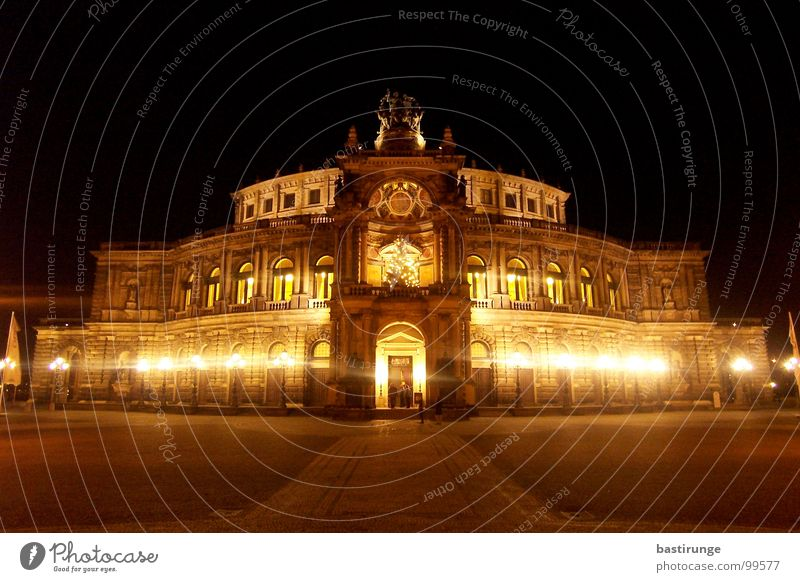 Semper Opera Dresden Capital city Saxony Night Brewery Dark Light Landmark Monument Light (Natural Phenomenon) Architecture
