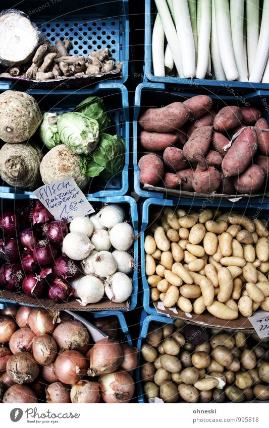 vegetables Food Vegetable Potatoes Onion Celery Ginger Leek sweet potato Nutrition Organic produce Vegetarian diet Slow food To enjoy Greengrocer Colour photo