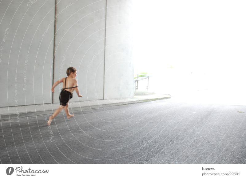 Child Street Boy (child) Bright Going Walking Concrete Speed Asphalt Individual Running Costume Traffic infrastructure Tunnel Escape Barefoot