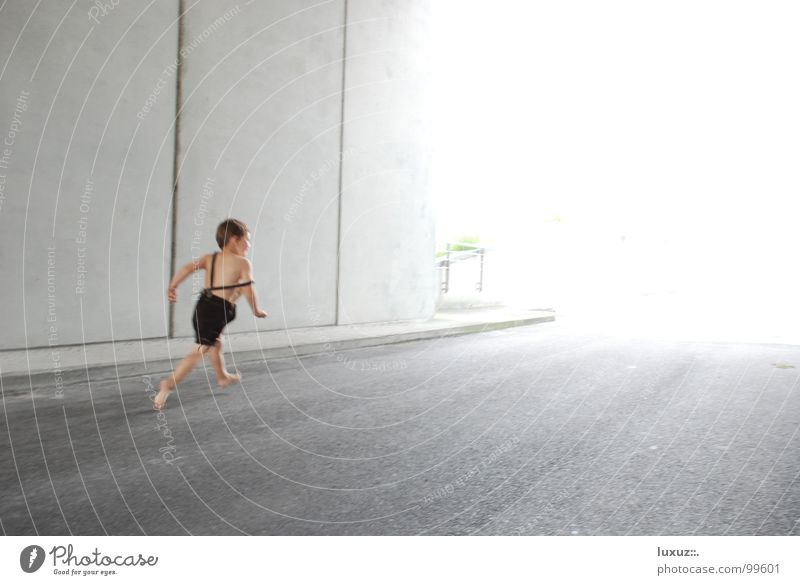 racer Speed Tunnel Flashy Dazzle Barefoot Walking Leather shorts Concrete Child Going Light Traffic infrastructure Bright Running Boy (child) Haste