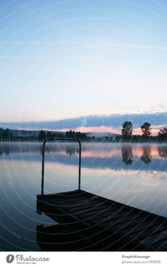 Quiet morning. Cold Pure Fresh Lake Harmonious Reflection Morning Calm Water Sky Landscape Nature landing stage Dawn equilibrium Digital photography canon 350 D