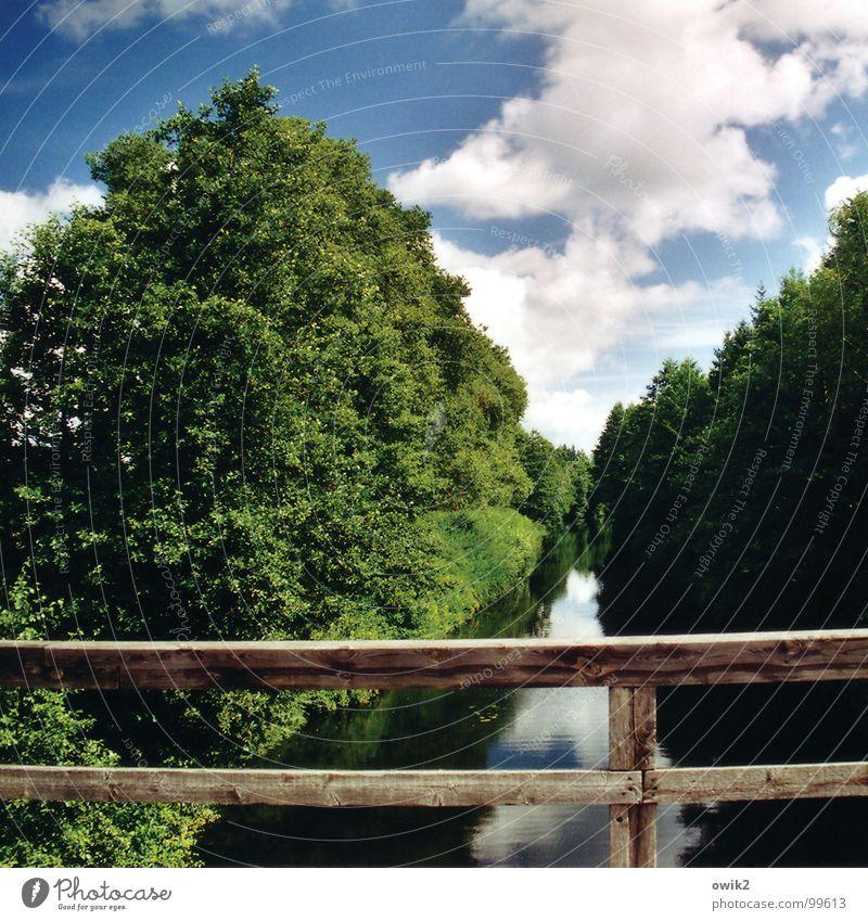 Canal Augustów again Environment Nature Landscape Plant Elements Air Water Sky Clouds Climate Beautiful weather Tree Brook River Bridge Bridge railing Transport