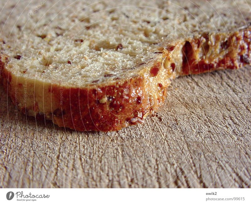 slice Colour photo Close-up Detail Pattern Structures and shapes Deserted Day Shallow depth of field Food Bread Nutrition Breakfast Portion Chopping board