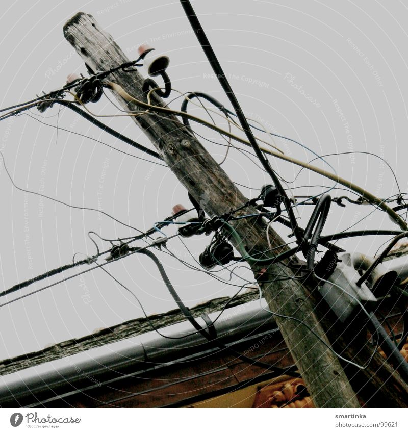 Interface Electricity Electricity pylon Muddled Wire Industry Electrical equipment Technology Energy industry Connection Transmission lines Wired