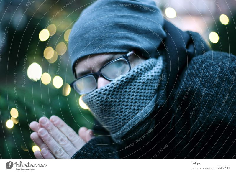 Woman Christmas & Advent Cold Adults Face Life Emotions Moody Glittering Lifestyle Eyeglasses Cap Jacket Freeze Scarf Mistrust