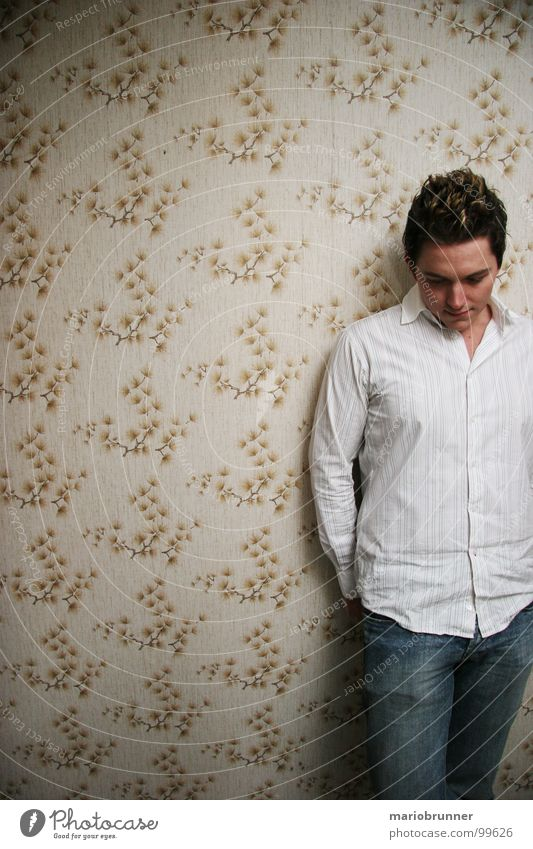 granny's house 03 Think Wallpaper Retro Pattern Wall (building) Shirt White Man Emotions white shirt Jeans