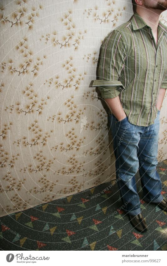 Man Green Retro Jeans Wallpaper Facial hair Seventies Trouser pocket