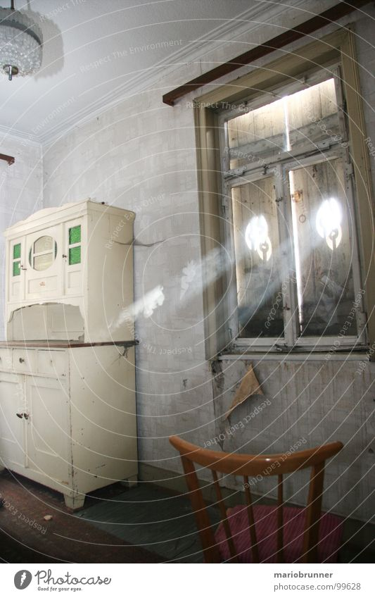 Old House (Residential Structure) Room Retro Chair Living or residing Smoke Derelict Seventies Dust Steam Cupboard Shutter Archaic Old-school Shaft of light