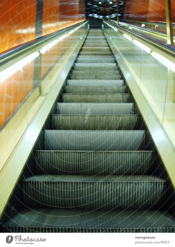 escalator Escalator Underground Empty Photographic technology long stair Wait Stairs