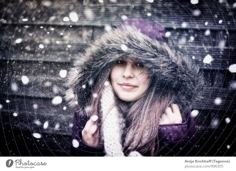 Let it Snow... Human being Feminine Child Girl Young woman Youth (Young adults) Sister 1 13 - 18 years Wind Gale Snowfall Jacket Fur coat Pelt Scarf Brunette