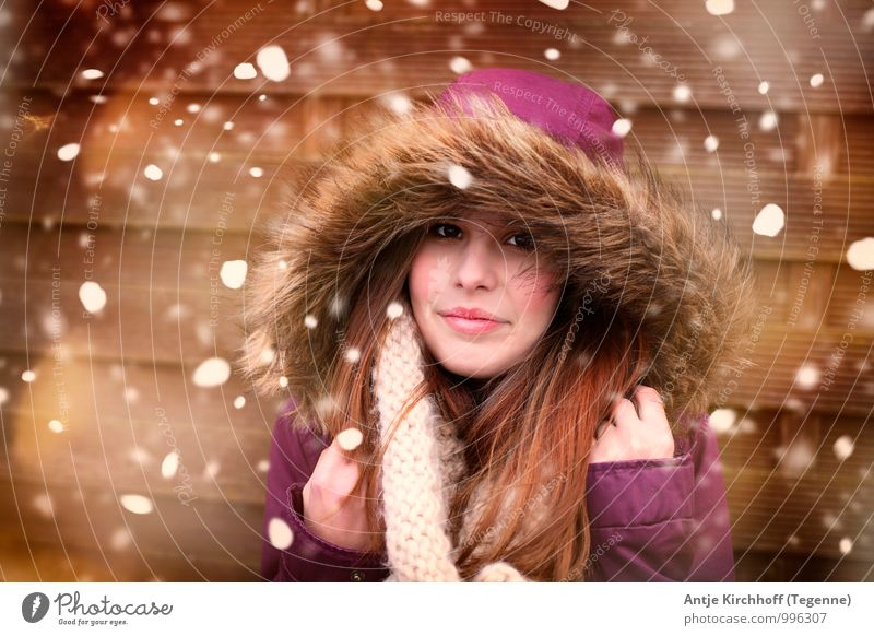 Human being Child Youth (Young adults) Beautiful Young woman White Girl Winter Brown Snowfall Contentment Ice Gold 13 - 18 years Infancy Smiling