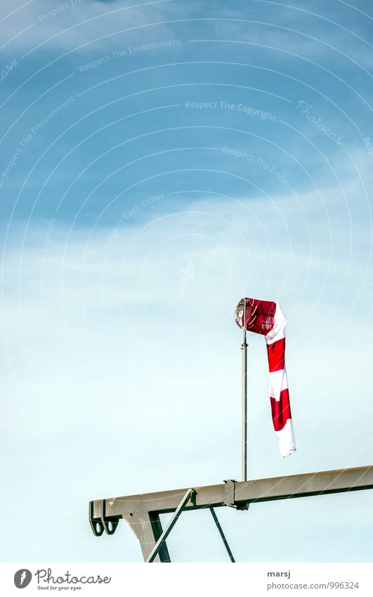 Total lull Sky Clouds Weather Beautiful weather Aviation Windsock Stripe Illuminate Simple Blue Red Striped Red-white-red Lifeless Slack Calm Display