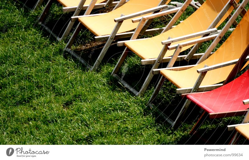 ColouredSummerSitIn Meadow Green Deckchair Bar Guest Holiday season Opening Waiter Yellow Red Vacation & Travel Relaxation Gastronomy sun Lawn reopening Weather