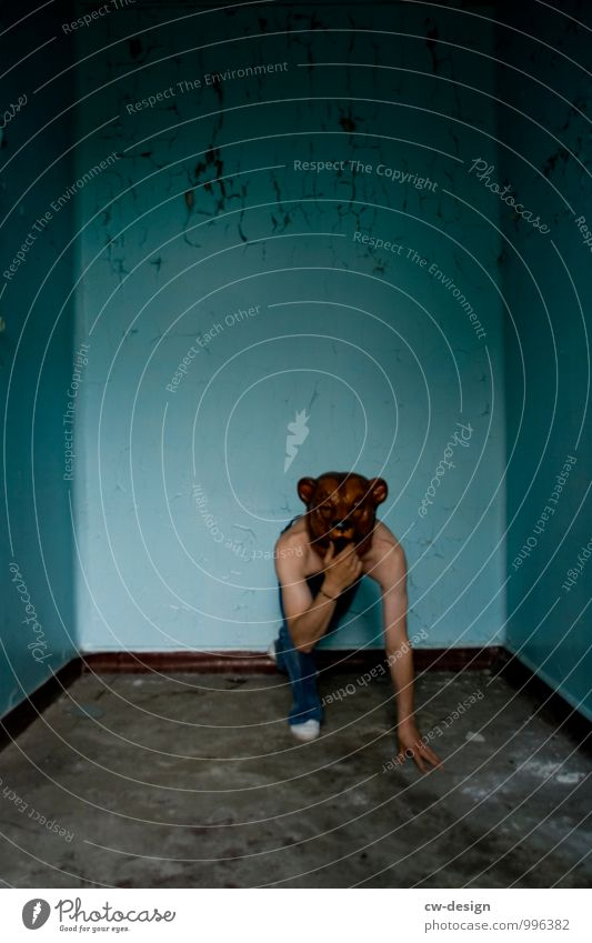 male teenager with bear mask in a confined space Youth (Young adults) Youth culture younger Upper body free Jeans Bear Mask Human being Colour photo