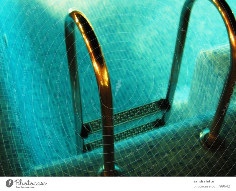 inviting? Swimming pool Vacation & Travel Cold Wet Summer Night Dark Water Blue peasant Bright Evening Ladder Stairs
