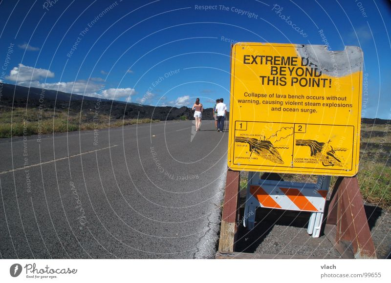 Dangerous Threat Hot Signage Warning label Volcano Hawaii Lava Street sign Warning sign