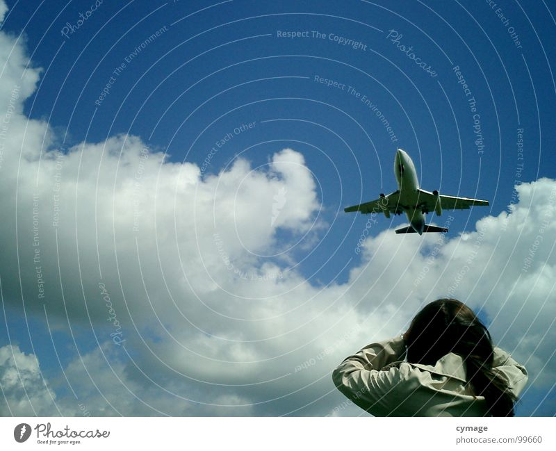 Woman Girl Sky Blue Summer Vacation & Travel Clouds Air Airplane Beginning Airport Airplane landing Marvel