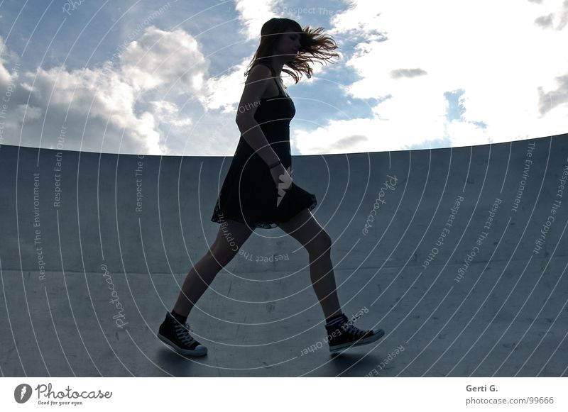 Woman Human being Sky Black Clouds Dark Emotions Gray Legs Metal Going Wind Perspective Floor covering Dress Thin