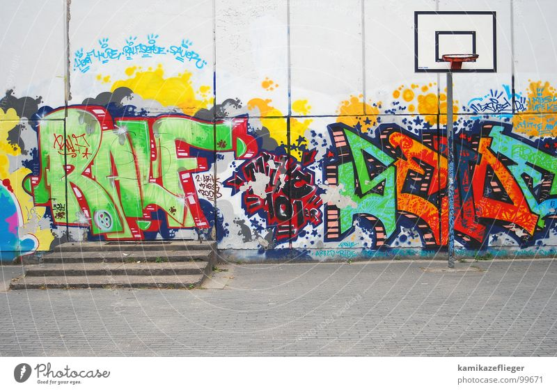 streetball Wall (building) Ball sports Basket Basketball basket Multicoloured Flashy Playing Joy Traffic infrastructure Stairs Schoolyard Graffiti