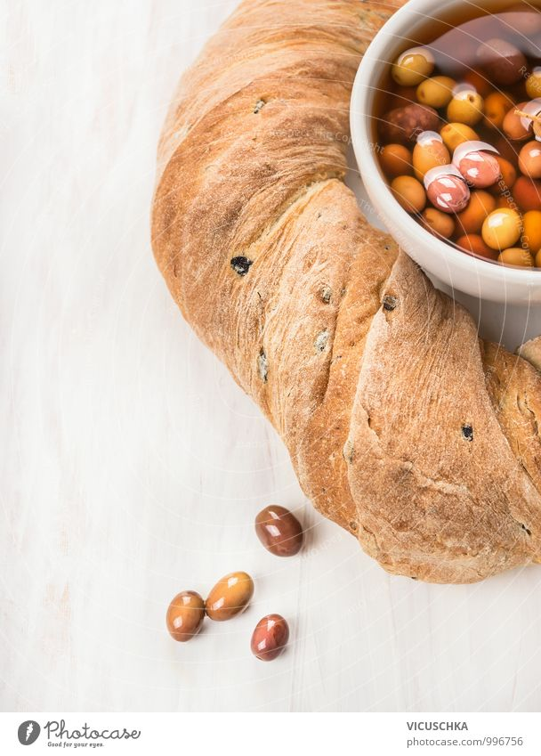 Italian ciabatta bread and olives Food Bread Nutrition Organic produce Vegetarian diet Diet Bowl Style Design Background picture Olive Round olive bread White