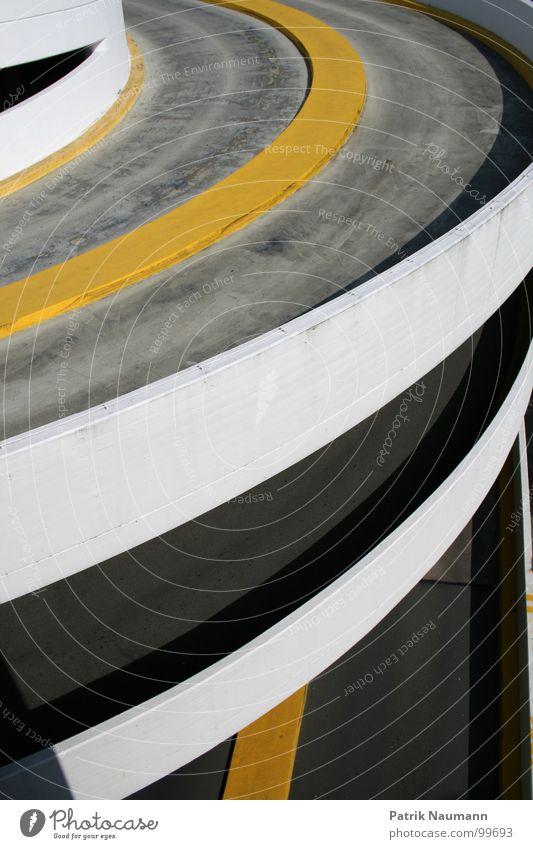 White Yellow Street Gray Building Concrete Asphalt Parking Parking garage