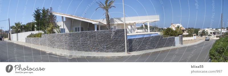 Panorama House La Manga, Spain Panorama (View) Swimming pool Beach hut Blue sky Fisheye Architecture modern residential house Stone wall modern house