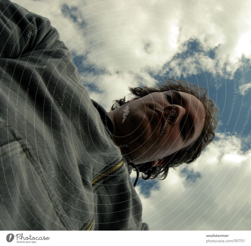 From below Self portrait Man Unshaven Stripe Jacket Upper body Clouds Green White Dark Worm's-eye view Boredom Portrait photograph Exceptional