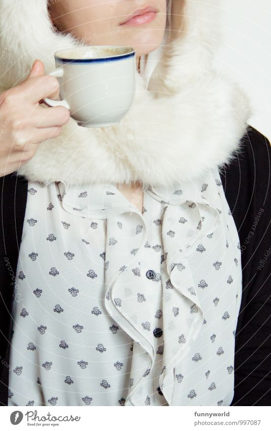 Coffee with fur Human being Feminine Young woman Youth (Young adults) Woman Adults Mouth 1 18 - 30 years Drinking Tea Crazy Funny Pelt Cap Clothing To hold on