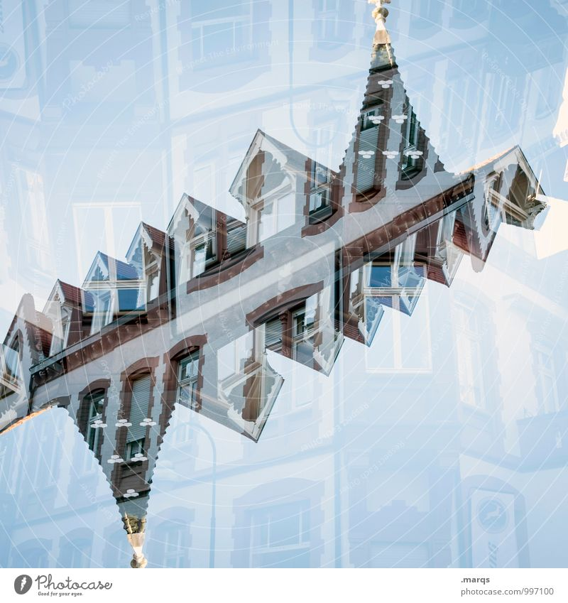 Blue House (Residential Structure) Window Style Lifestyle Exceptional Living or residing Esthetic Roof Cloudless sky Double exposure Symmetry Eaves