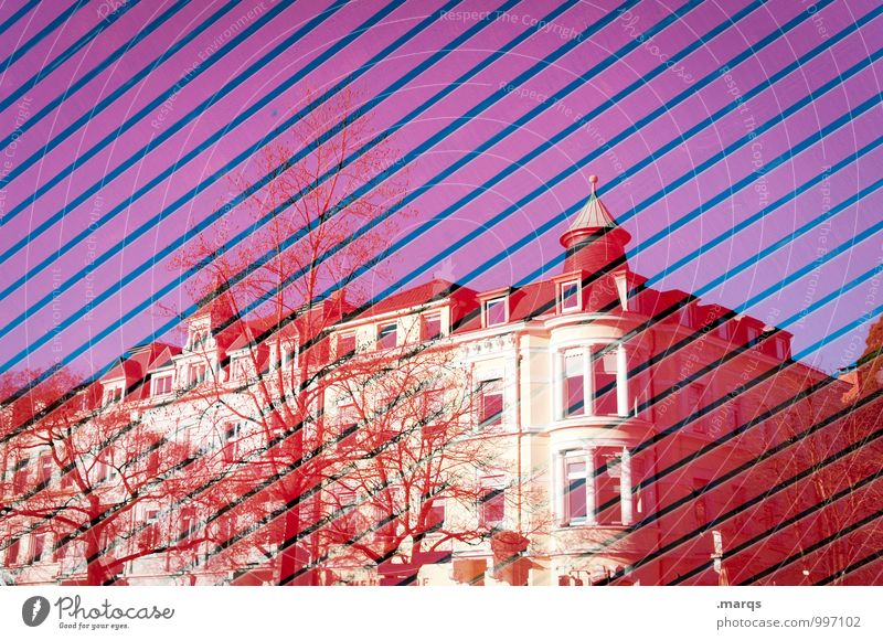 Blue Colour Tree Red House (Residential Structure) Style Exceptional Line Design Perspective Beautiful weather Cloudless sky Double exposure Old building Freiburg im Breisgau
