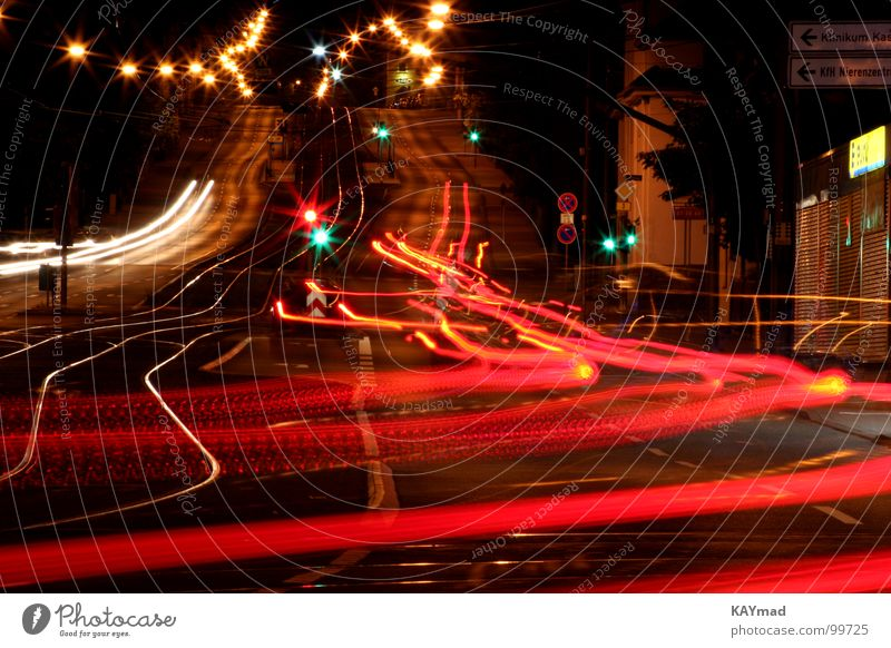 Tempo of the night Night Light Tracer path Long exposure Haste strass Speed Car