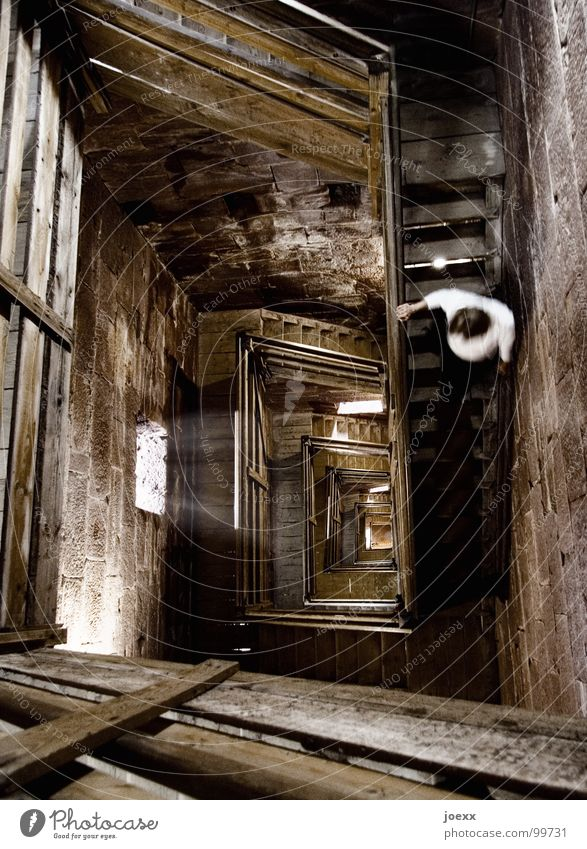 Dark Wood Fear Stairs Tower Level To fall Handrail Infinity Derelict Under Castle Historic Staircase (Hallway) Deep Fear of heights