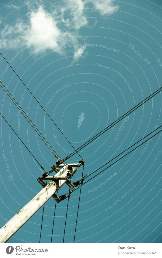 Heavy on wire Electricity Noble Thin Graceful Open Wire Electricity pylon Wood Attach Triangle Exciting Worm's-eye view Under Central Middle Geometry Clouds