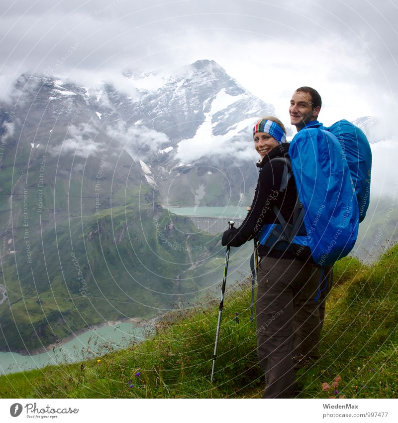 Mountain hike square Athletic Fitness Vacation & Travel Freedom Expedition Hiking Climbing Mountaineering Human being Young woman Youth (Young adults) Young man