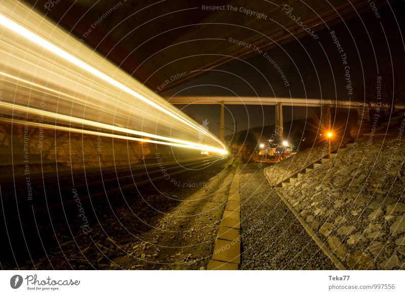 Night Train I Vacation & Travel Town Tunnel Transport Means of transport Traffic infrastructure Rush hour Logistics Highway Rail transport Train travel Railroad