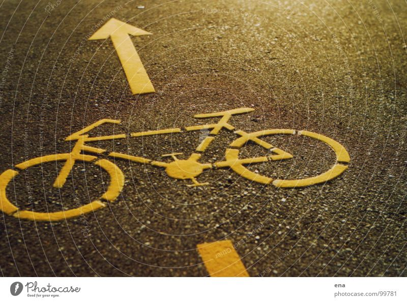 piece the bike Asphalt Cycle path Symbols and metaphors Pictogram Yellow Grainy Street sign Konstanz district Floor covering Lane markings