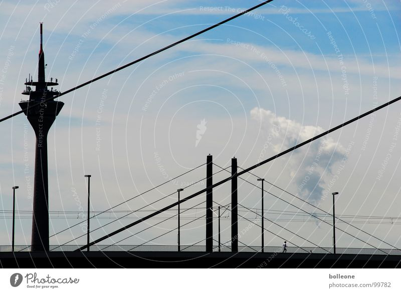 Sky Blue City Summer Clouds Street Life Work and employment Line Transport Bridge Industrial Photography Leisure and hobbies Media Illustration Duesseldorf