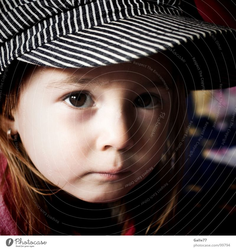 Child Nature Girl Beautiful Sweet Cap Dynamics Toddler Facial expression Alert Enchanting