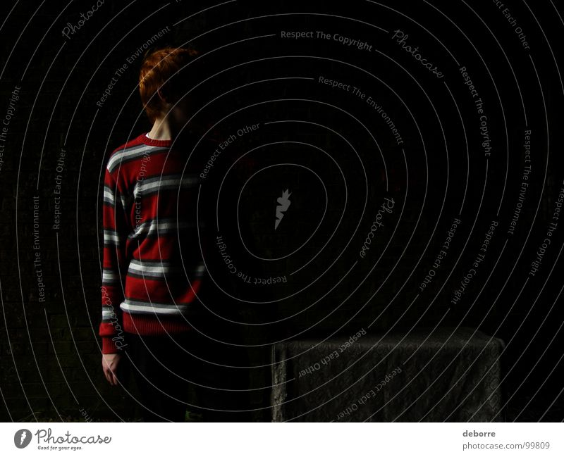darkmen Dark Tunnel Things Red Red-haired Striped Mysterious Crate Youth (Young adults) Shadow wnad Human being Guy Fear