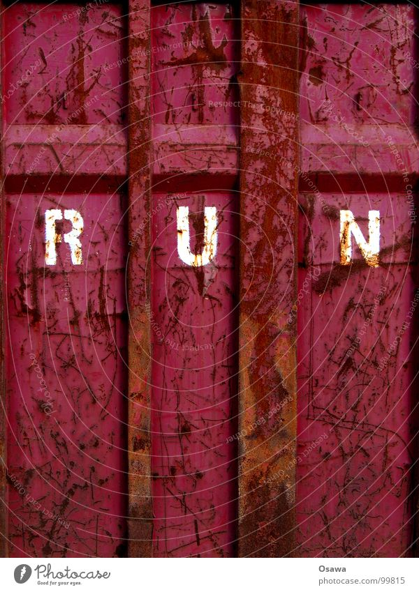 Old Red Colour Wall (building) Brown Walking Characters Violet Information Letters (alphabet) Derelict Steel Rust Container Communication Scratch mark