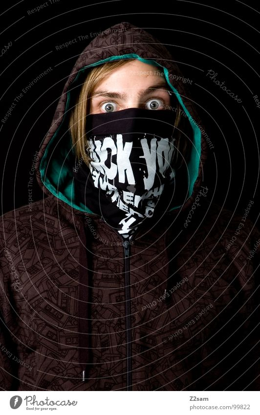 Fuck you! Man Portrait photograph Upper body Blonde Youth (Young adults) Green Pattern Amazed Scare Criminal Hip-hop Youth culture Tagger Human being Head
