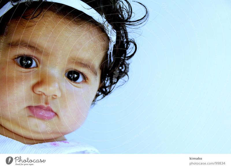 Girl Blue Face Eyes Concentrate Fat Toddler Mexico
