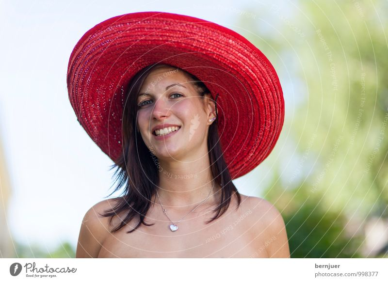 sombrero Human being Feminine Young woman Youth (Young adults) 1 18 - 30 years Adults Nature Sky Beautiful weather Smiling Large Red Happiness Sombrero Hat