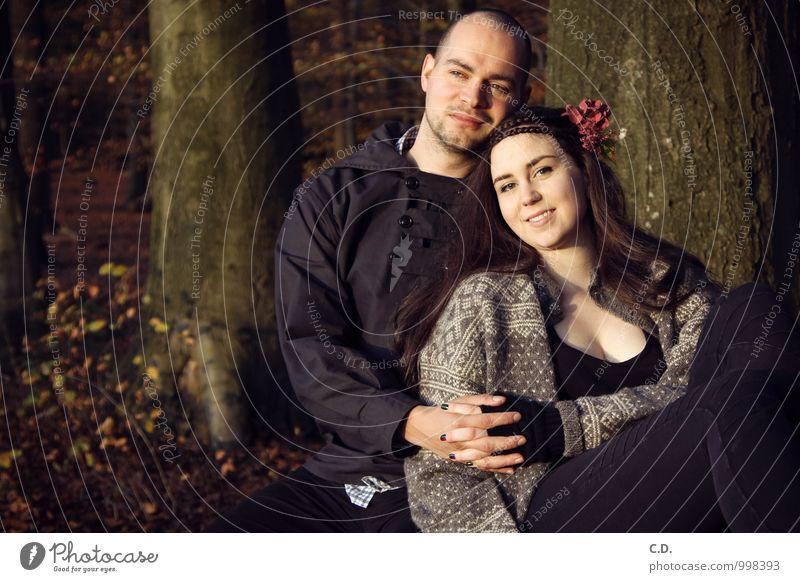 P&S II Couple Partner 2 Human being 18 - 30 years Youth (Young adults) Adults Tree Forest Sweater Jacket Smiling Love Friendliness Happiness Together Happy